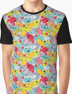 Birds and hearts and colorful blur Graphic T-Shirt
