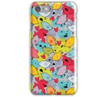 Birds and hearts and colorful blur iPhone Case/Skin