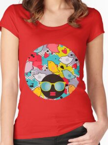 Birds and hearts and colorful blur Women's Fitted Scoop T-Shirt