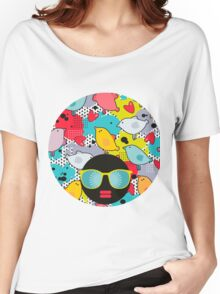 Birds and hearts and colorful blur Women's Relaxed Fit T-Shirt