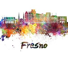 Fresno V2 skyline in watercolor by paulrommer