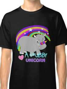 Cute Chubby Little Unicorn Rainbow Design Classic T-Shirt