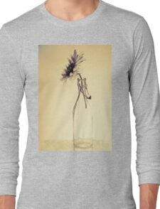 Colorful gentle drawing of flower in a glass bottle Long Sleeve T-Shirt