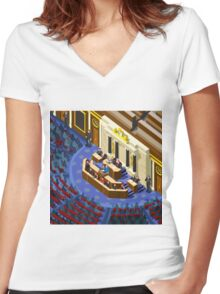 Election Infographic Parliament Hall Women's Fitted V-Neck T-Shirt