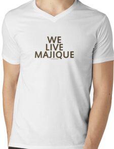 """We Live Majique"" (Brown Text) Mens V-Neck T-Shirt"
