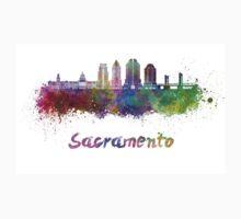 Sacramento V2 skyline in watercolor Kids Tee