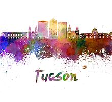 Tucson V2 skyline in watercolor by paulrommer