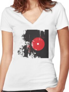 Faded Vinyl Women's Fitted V-Neck T-Shirt
