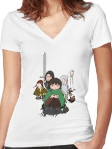 Tolkien Time - The Fellowship Women's Fitted V-Neck T-Shirt