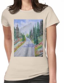 Biking The Mountains Womens Fitted T-Shirt