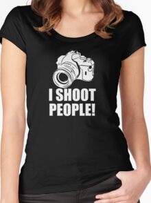 I Shoot People, Funny, Photographer, Camera Photography Women's Fitted Scoop T-Shirt