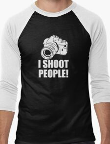 I Shoot People, Funny, Photographer, Camera Photography Men's Baseball ¾ T-Shirt