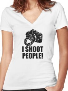 I Shoot People Funny Photographer Camera Photography Women's Fitted V-Neck T-Shirt
