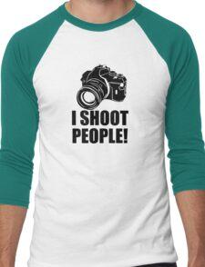I Shoot People Funny Photographer Camera Photography Men's Baseball ¾ T-Shirt