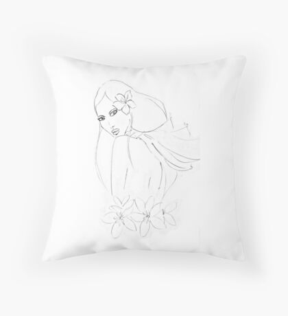 oriental girl black and withe Throw Pillow