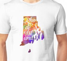 Rhode Island US State in watercolor text cut out Unisex T-Shirt