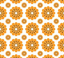 "Retro 1970s Geometric Print ""Flowers 1""  by Fotopia"