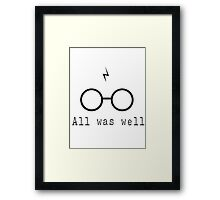 Harry Potter Scar All Was Well Framed Print