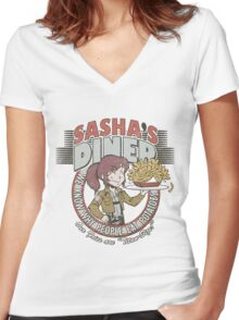 Sasha's Diner Women's Fitted V-Neck T-Shirt