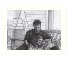 Castle and Beckett - Relax on the porch swing Art Print
