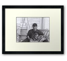 Castle and Beckett - Relax on the porch swing Framed Print