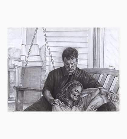 Castle and Beckett - Relax on the porch swing Photographic Print