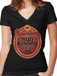 True Blood Inspired - Eric Northman Sunblock & Self-Tanner - Vampire Sunblock Parody - Tru Blood Women's Fitted V-Neck T-Shirt