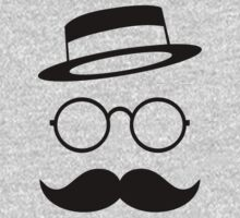 Retro / Minimal vintage face with Moustache & Glasses Kids Tee