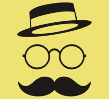 Retro / Minimal vintage face with Moustache & Glasses Kids Tee