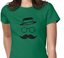 Retro / Minimal vintage face with Moustache & Glasses Womens Fitted T-Shirt