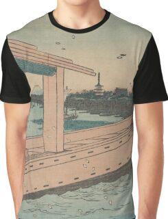 Distant view of Kinryuzan Temple and Azuma Bridge - Hiroshige Ando - 1857 Graphic T-Shirt