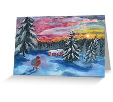 Christmas Sunset - Pink and Yellow Greeting Card