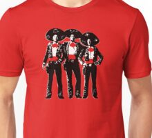Three Amigos - Pop Art on Red Unisex T-Shirt