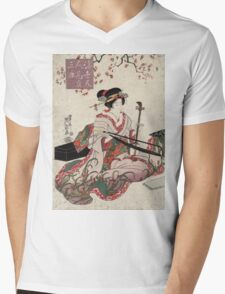 Floating world beauties in a parody of three classic plays - Eisen Ikeda - 1820 Mens V-Neck T-Shirt