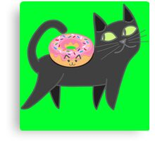 My cat loves donuts Canvas Print