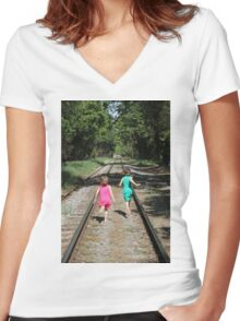 Childhood Adventure Women's Fitted V-Neck T-Shirt