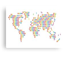World with colored human icons Canvas Print