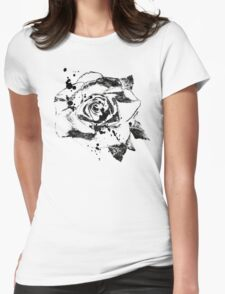 Black Ink Rose  Womens Fitted T-Shirt