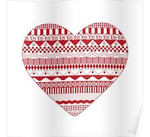 Red heart pattern Poster