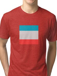 Blue and Orange Stripey Lines Effects Tri-blend T-Shirt