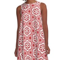 Red Pedals and White Flowers Pattern A-Line Dress