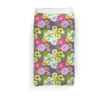 Colorful Shapes and Flowers Pattern Duvet Cover