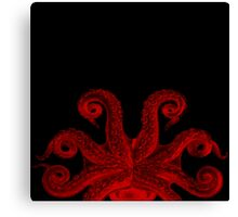 Red Vintage Octopus Tentacles Illustration Canvas Print