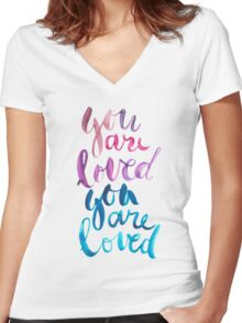 You are loved hand lettering . Women's Fitted V-Neck T-Shirt