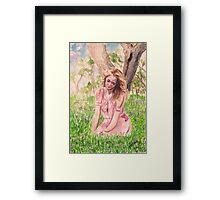 Girl in field Framed Print