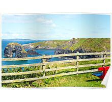 seat with view of virgin rock near cliffs Poster