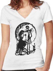 Nightmare Before Christmas - Black On White Women's Fitted V-Neck T-Shirt