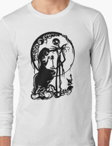 Nightmare Before Christmas - Black On White Long Sleeve T-Shirt