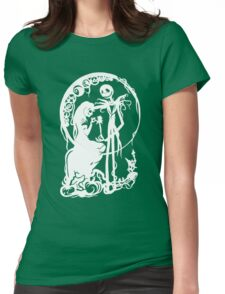 Nightmare Before Christmas - White On Black Womens Fitted T-Shirt
