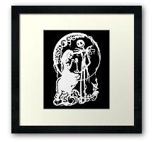 Nightmare Before Christmas - White On Black Framed Print